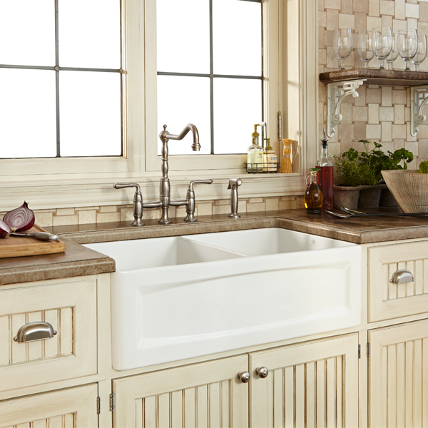 33 Inch Farmhouse Sink White : Kitchen Farm Sink - Hillside 33 inch wide Apron Kitchen Sink from DXV