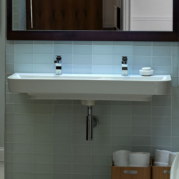 bathroom sinks lyndon 47 inch wall hung two faucet