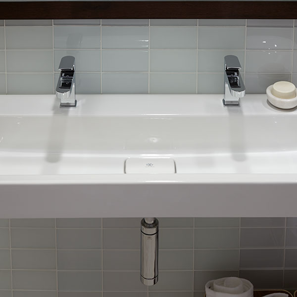 Two Faucet Trough Sink : ... Sinks - Lyndon 47 Inch Wall-Hung Two Faucet Trough Bathroom Sink by