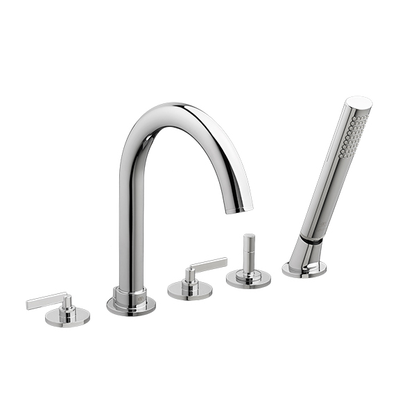 Percy Deck-Mounted Bathtub Faucet with Stem Handles