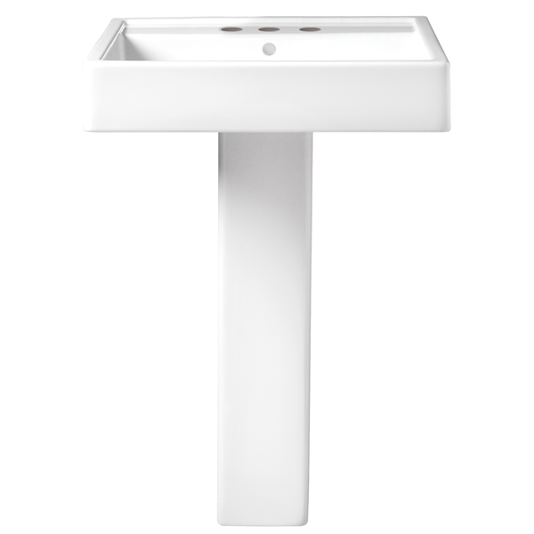 Seagram 24 Inch Pedestal Bathroom Sink- 3 Faucet Holes