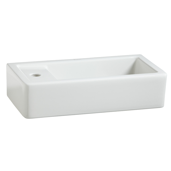 Seagram Rectangle Wall-Hung Bathroom Sink- Left Hand Drain