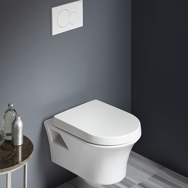 DXV Seagram Wall-Hung Dual Flush Toilet Room Scene-DXV Seagram Wall-Hung Dual Flush Toilet- Canvas White Canvas White