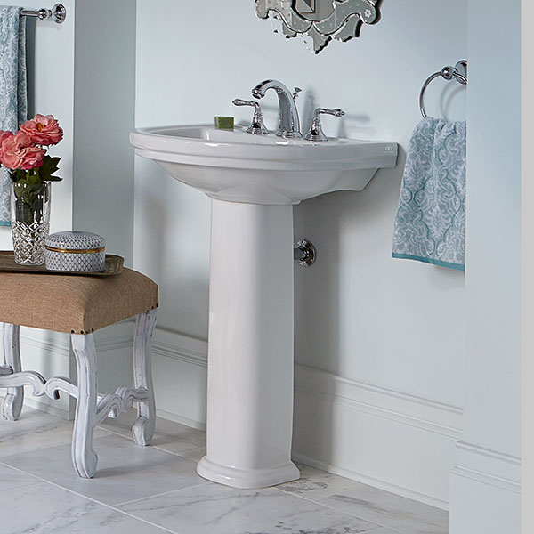 Bathrooms with pedestal sinks