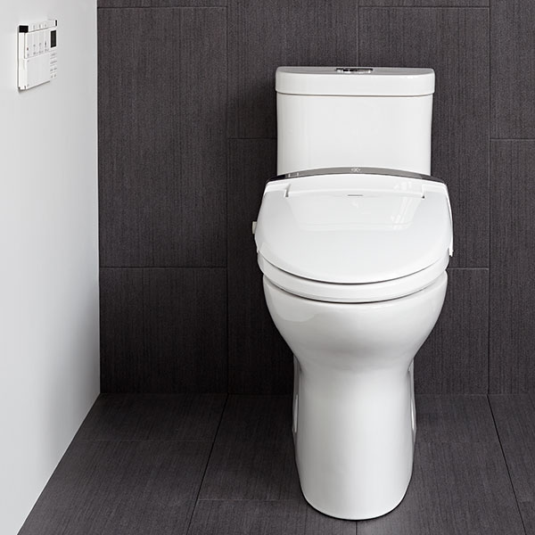 DXV AT100 Electronic Bidet Smart Toilet Seat Room Scene- Canvas White