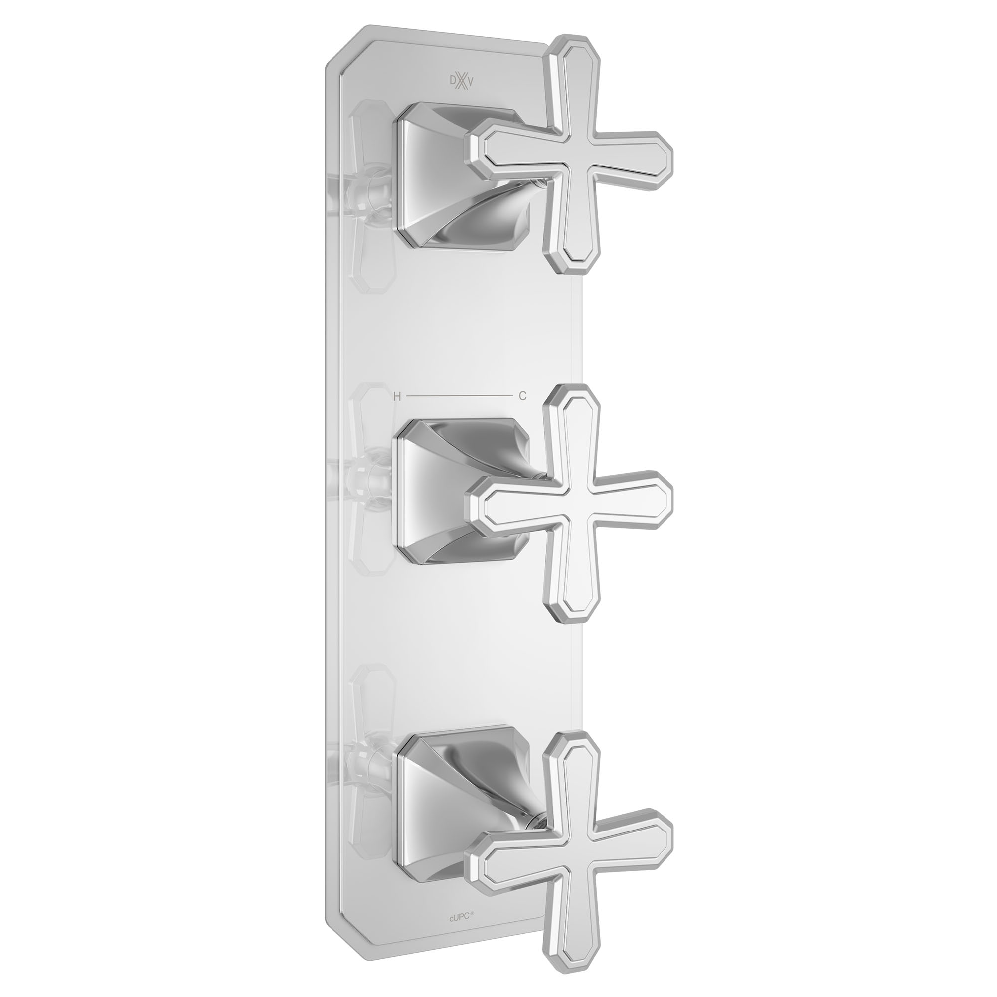 Belshire Three-Handle Thermostatic Valve Trim With Cross Handles