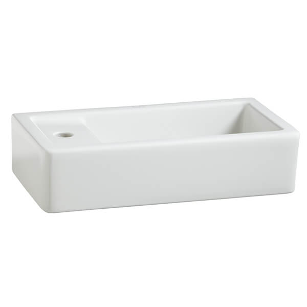 Cossu Rectangle Wall-Hung Bathroom Sink- Left Hand Drain