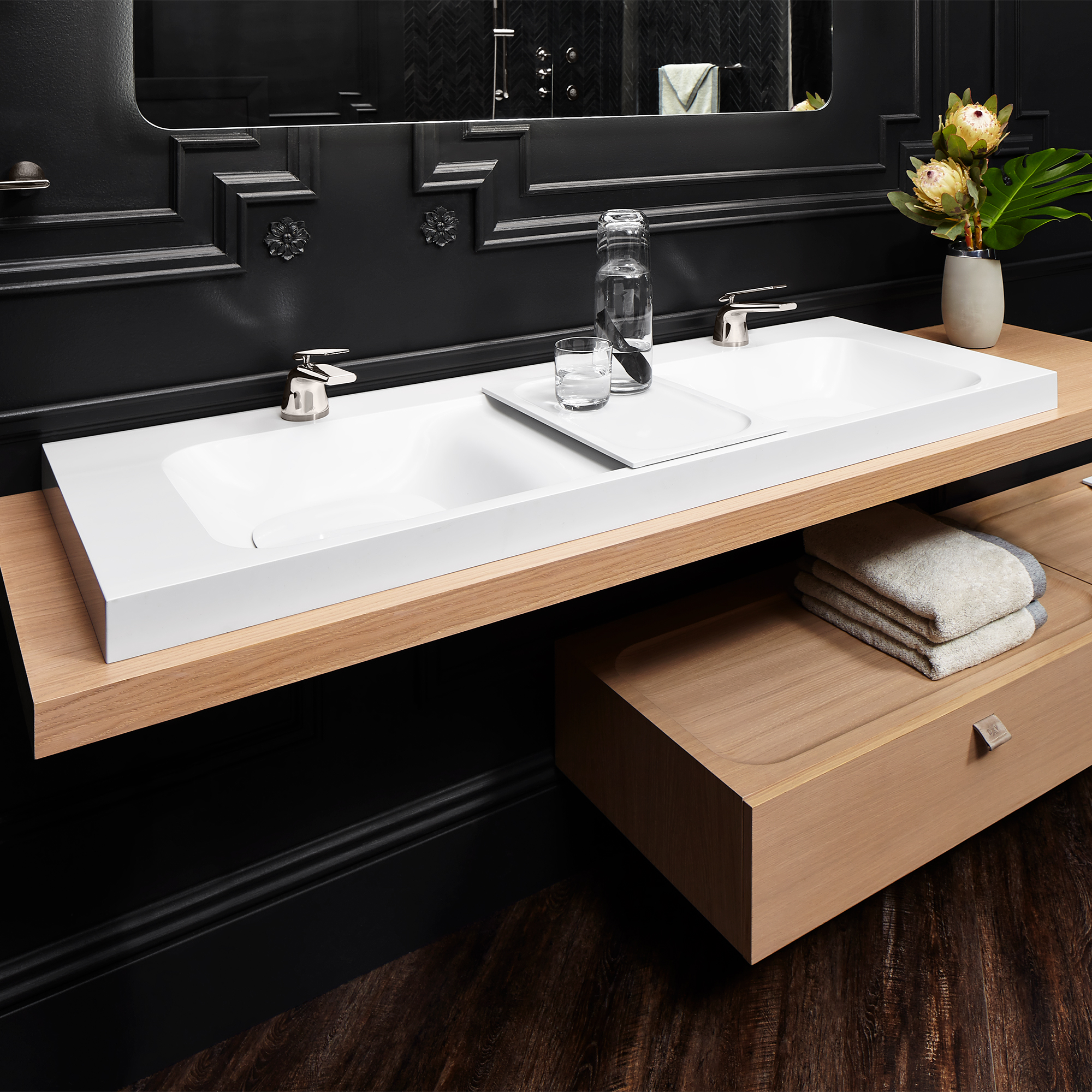 DXV Modulus 55 Inch Two Single Hole Double Bathroom Sink