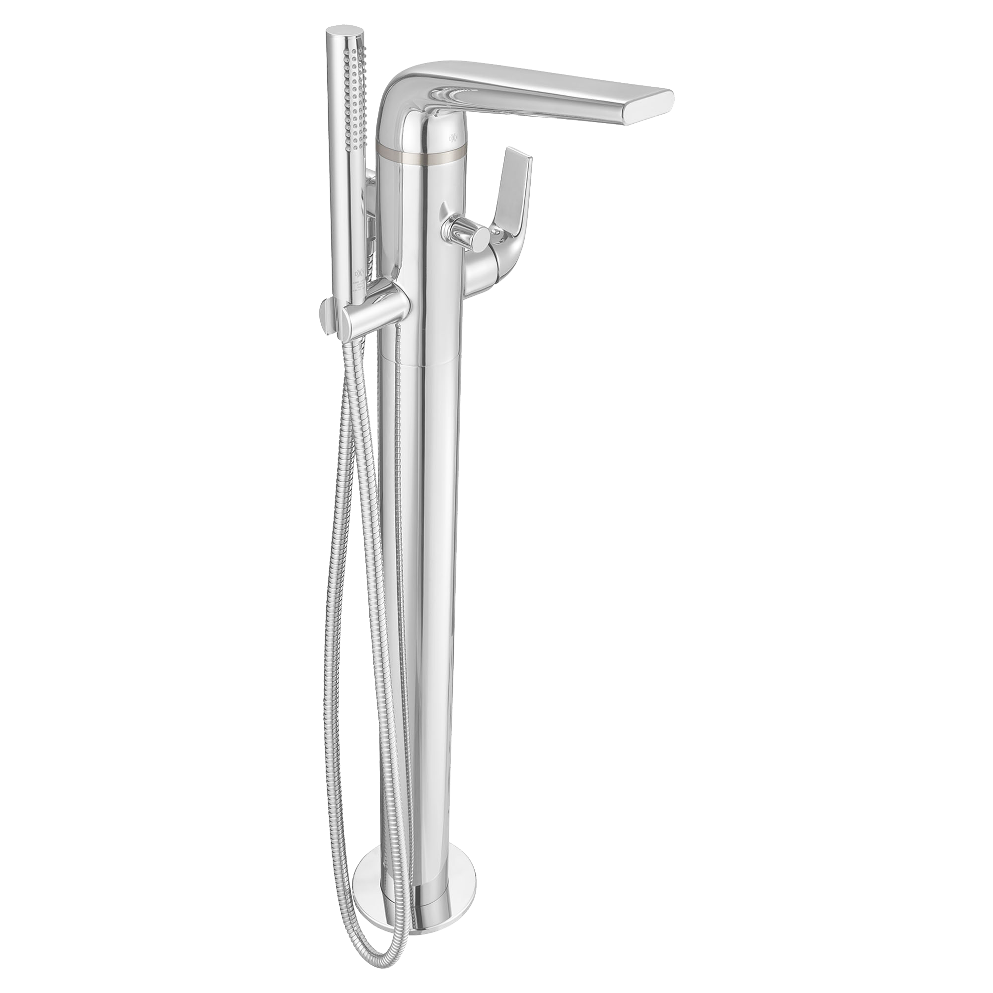 single mount nickel brass floors polished on adds floor this hand with freestanding smooth hardware shower tub and solid silhouette your faucet a handle in made benkei bathroom of arched spout gooseneck control graceful