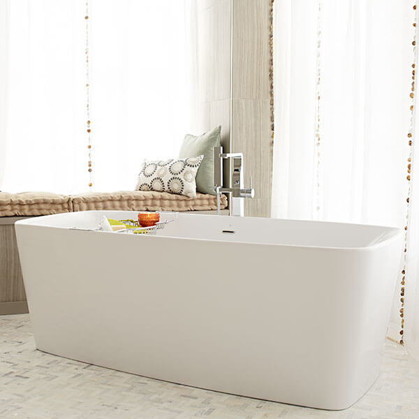 Equility Slim Freestanding Soaking Tub- Canvas White