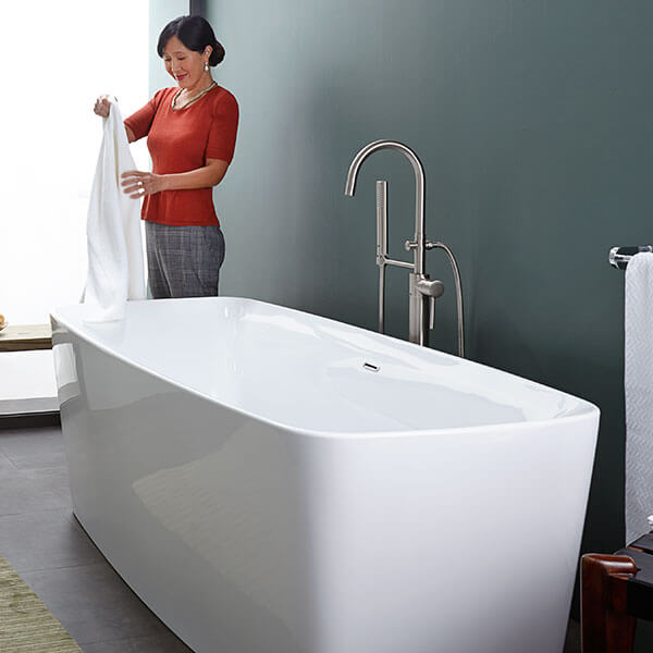Equility Freestanding Soaking Tub Lifestyle Room Scene- Canvas White