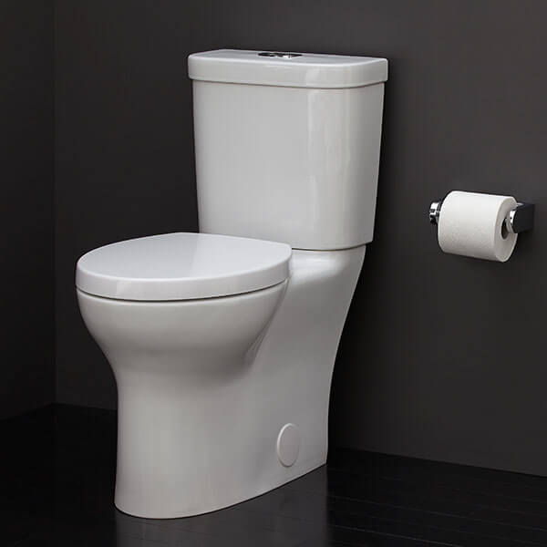 Equility Two-Piece Elongated Dual Flush Toilet Room Scene- Canvas White