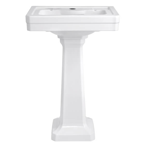 Fitzgerald 24 Inch Pedestal Bathroom Sink- Single Faucet Hole