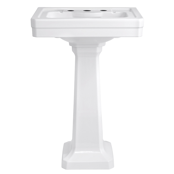 Fitzgerald 24 Inch Pedestal Bathroom Sink- Three Faucet Holes