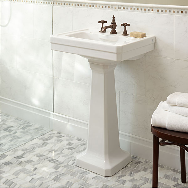 Fitzgerald 24 Inch Pedestal Bathroom Sink  Three Faucet Holes