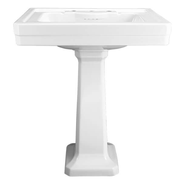 Fitzgerald 28 Inch Pedestal Bathroom Sink- Three Faucet Holes