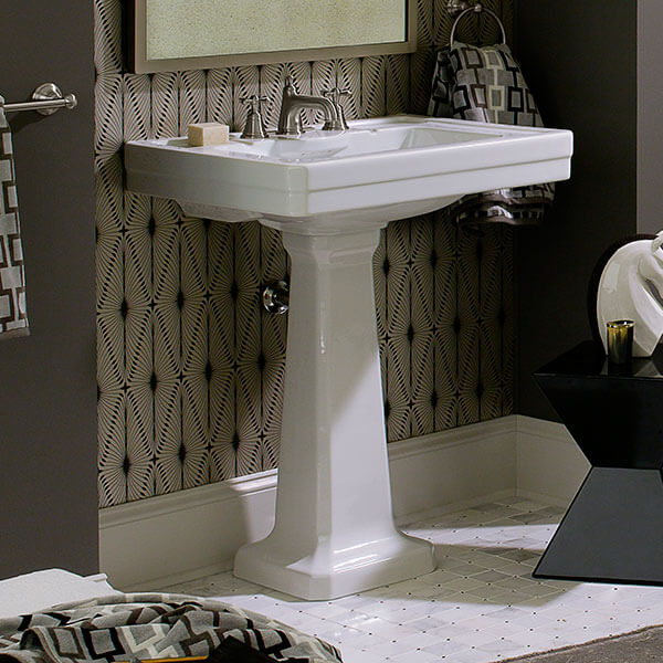 DXV Fitzgerald 28 Inch Pedestal Bathroom Sink Room Scene- Canvas White