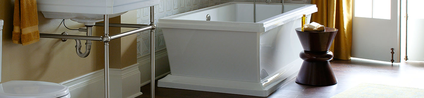 Soaking Tubs Fitzgerald Freestanding Soaker Tub From DXV - Rectangular freestanding soaking tub