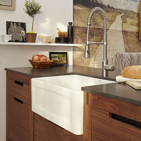 DXV Hillside 24 Inch Apron Kitchen Sink Room Scene- Canvas White