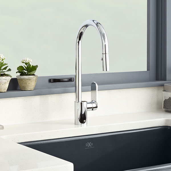 DXV Isle Pull-Down Kitchen Faucet Room Scene- Polished Chrome