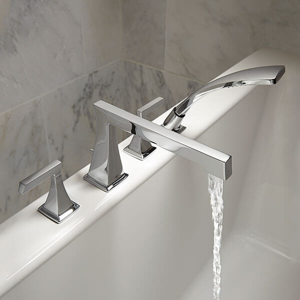 DXV Keefe Deck Mount Bathtub Faucet with Hand Shower Room Scene- Polished Chrome