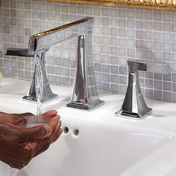 DXV Keefe Widespread Bathroom Faucet Lifestyle Scene- Polished Chrome