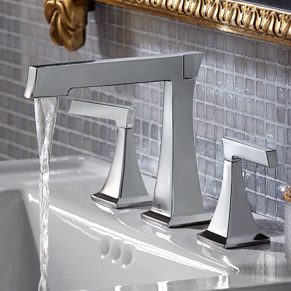DXV Keefe Widespread Bathroom Faucet Room Scene- Polished Chrome
