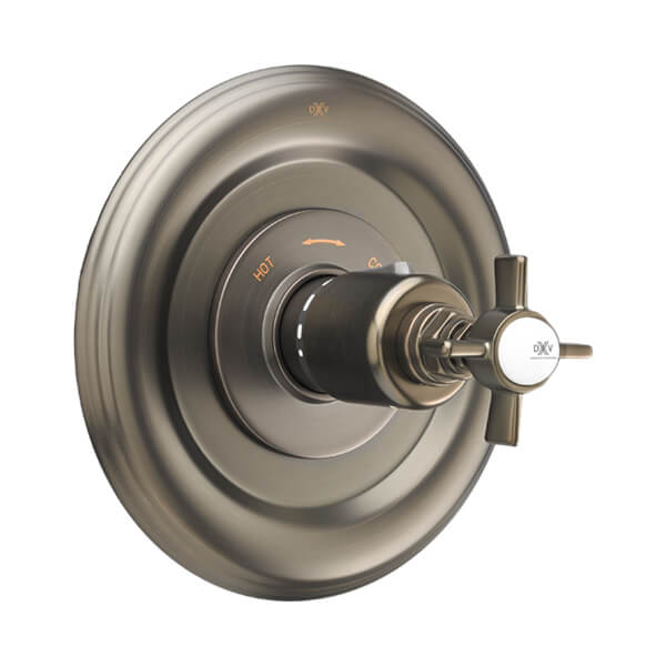 Landfair Thermostatic Valve with Cross Handles - Carbon Bronze