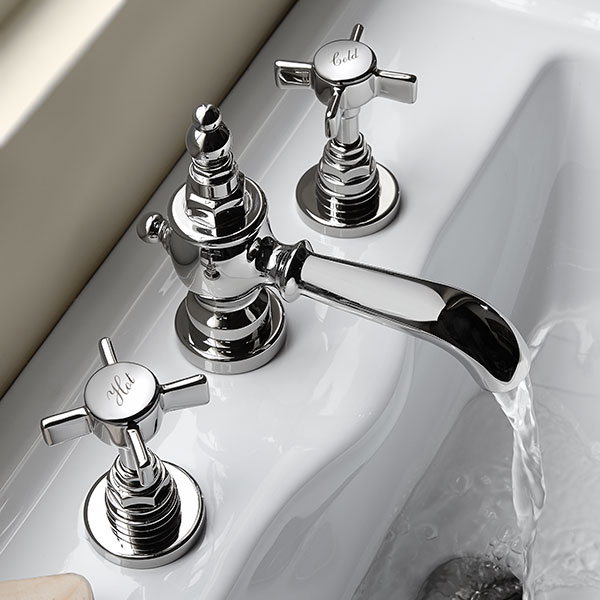 DXV Landfair Widespread Bathroom Faucet Room Scene- Polished Chrome