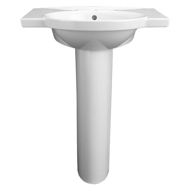 Lowell 26 Inch Pedestal Bathroom Sink- Three Faucet Holes