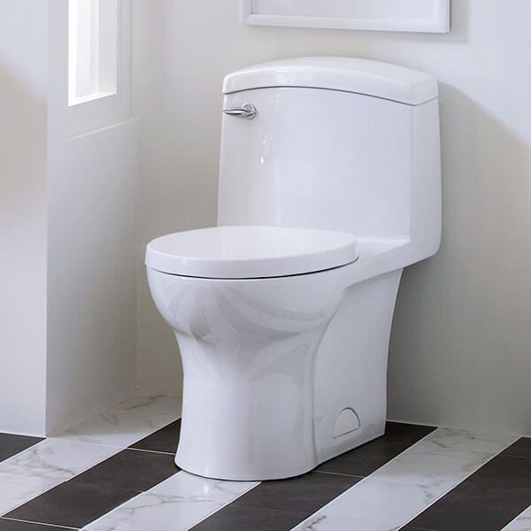 DXV Roycroft One-Piece Elongated Toilet Room Scene - Canvas White
