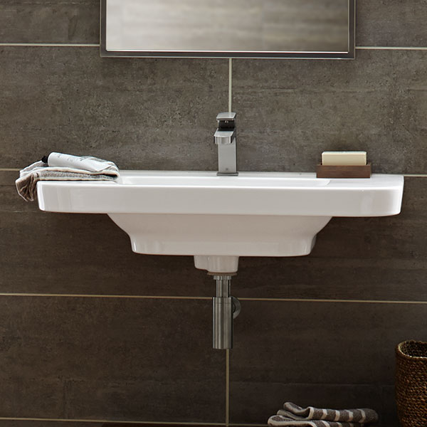 wall mounted trough sinks for bathrooms bathroom sinks lyndon 33 inch wall hung trough bathroom 25835