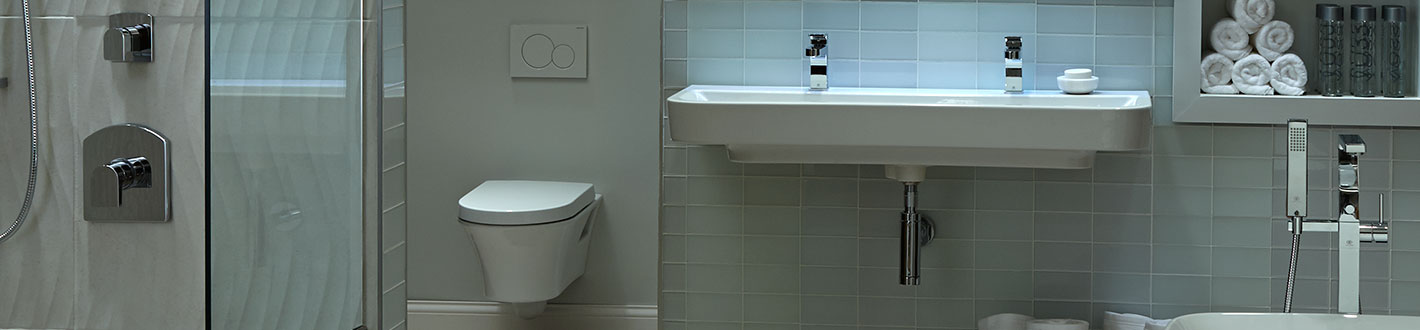 Bathroom Sinks - Equility 47 Inch Wall-Hung Two Faucet Trough ...