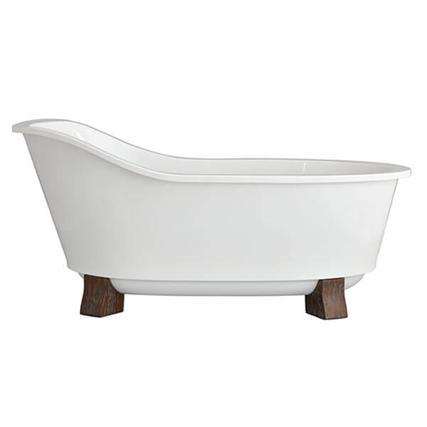 Oak Hill Freestanding Soaking Tub with Feet Canvas White/Weathered Oak