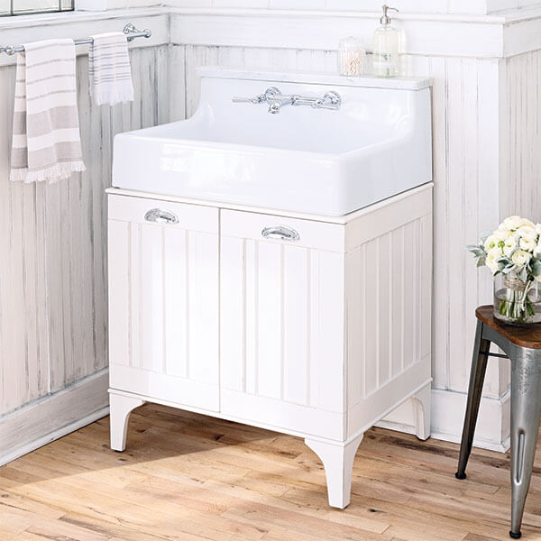 Oak Hill White Bathroom Console Sink Vanity - White Oak