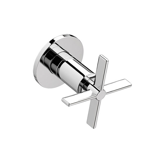 DXV Percy 1/2 Inch or 3/4 Inch Wall Valve Trim with Cross Handle - Polished Chrome