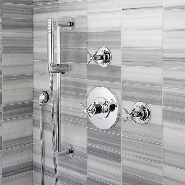 DXV Percy 3/4 Inch or 1/2 Inch Thermostatic Valve Trim with Cross Handle Room Scene - Polished Chrome