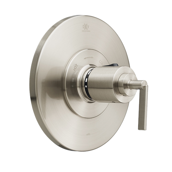 DXV Percy 3/4 Inch or 1/2 Inch Thermostatic Valve Trim with Lever Handle - Brushed Nickel