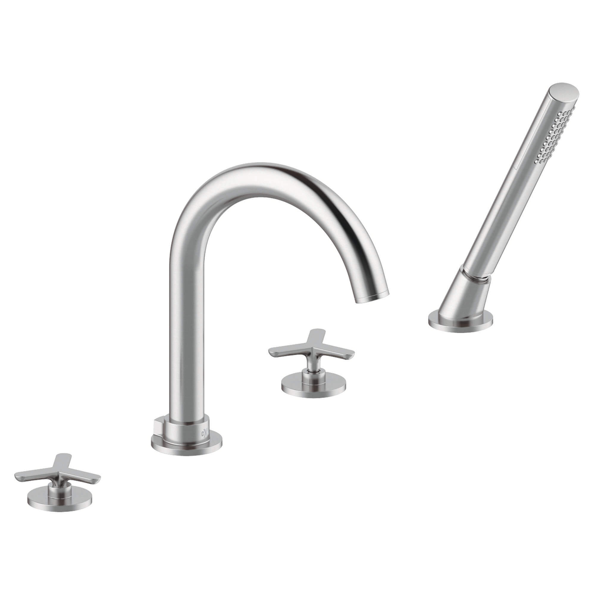 Percy Deck Mount Tub Filler with Hand Shower - Tri-Spoke Handles