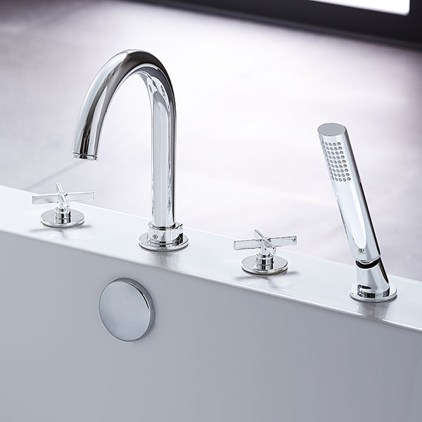 percy deckmounted bathtub faucet with cross handles