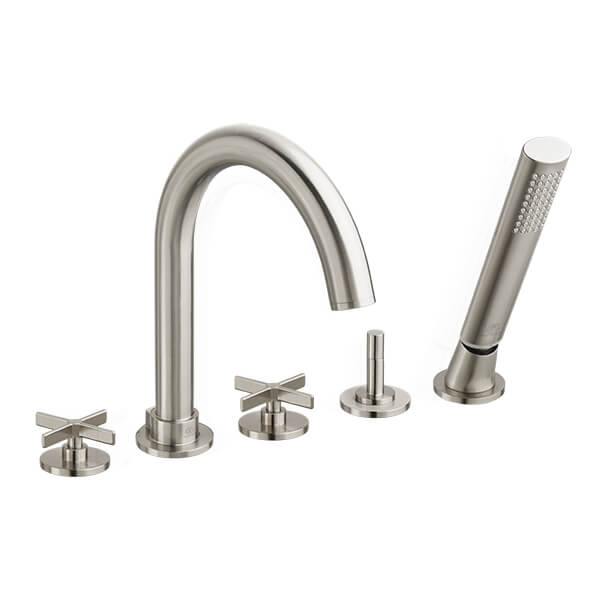Percy Deck-Mounted Bathtub Faucet with Cross Handles