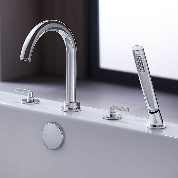 DXV Percy Deck-Mounted Bathtub Faucet with Stem Handles Room Scene- Polished Chrome