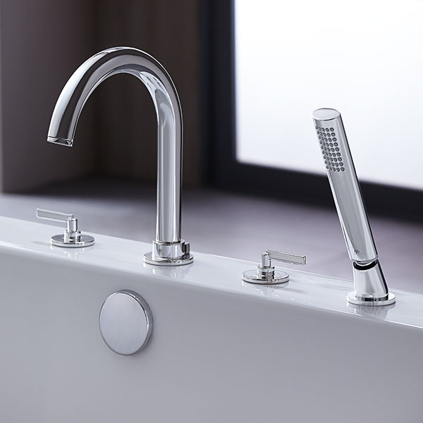 Tub Faucet- Percy Deck Mount Tub Filler with Stem Handles from DXV
