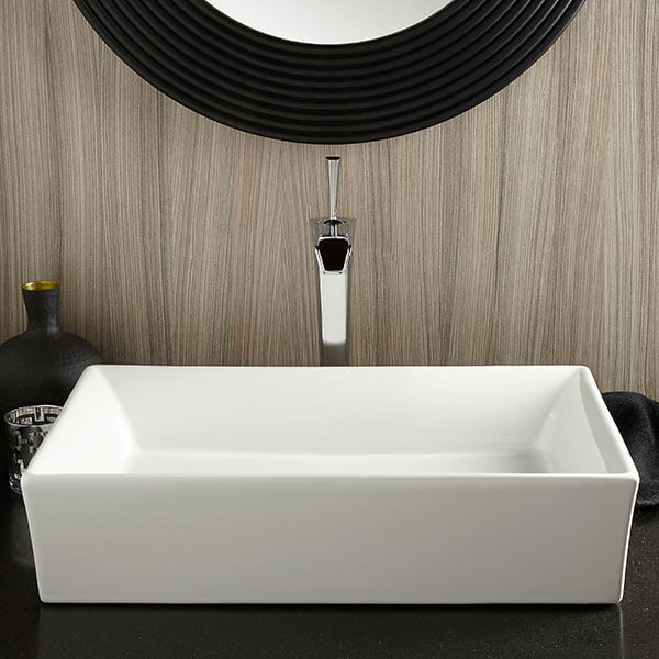 Pop Rectangle Vessel Bathroom Sink Room Scene- Canvas White
