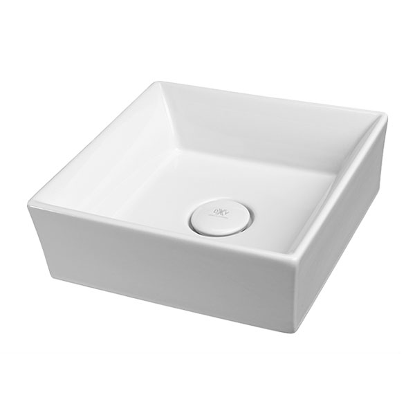 DXV Pop Square Vessel Bathroom Sink- Canvas White