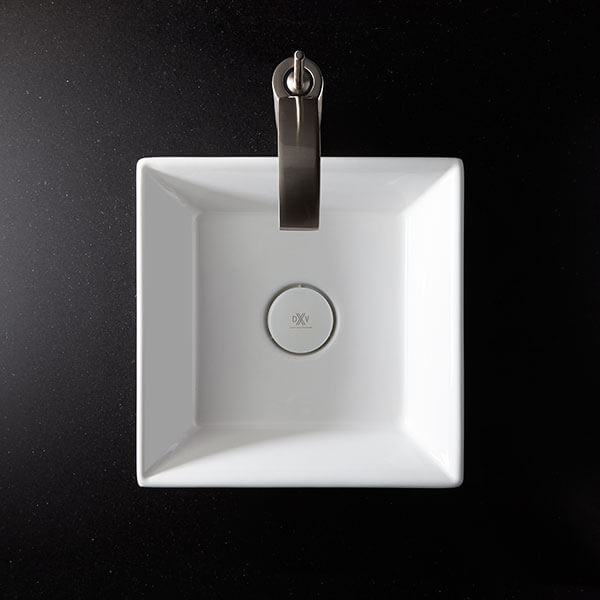 DXV Pop Square Vessel Bathroom Sink Room Scene- Canvas White