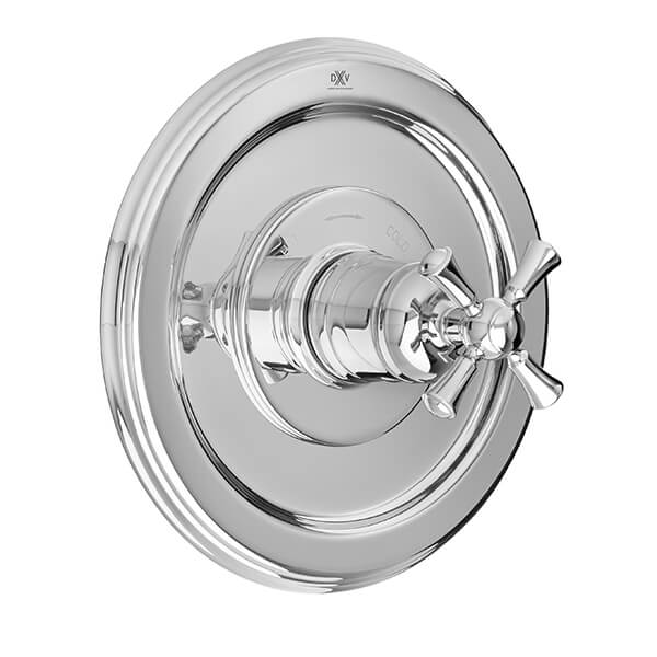 DXV Randall 1/2 Inch or 3/4 Inch Thermostatic Valve Trim with Cross Handle - Polished Chrome