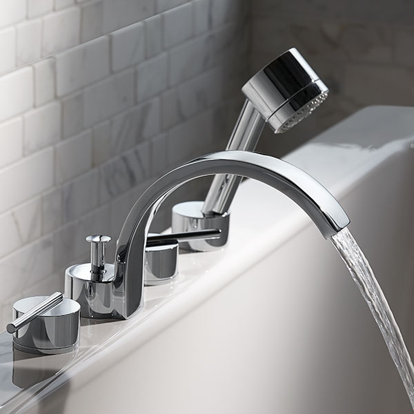 Tub Faucet- Rem Deck Mount Tub Filler with Hand Shower from DXV