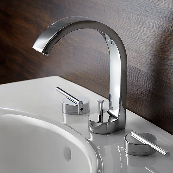 DXV Rem Widespread Bathroom Faucet Room Scene - Polished Chrome