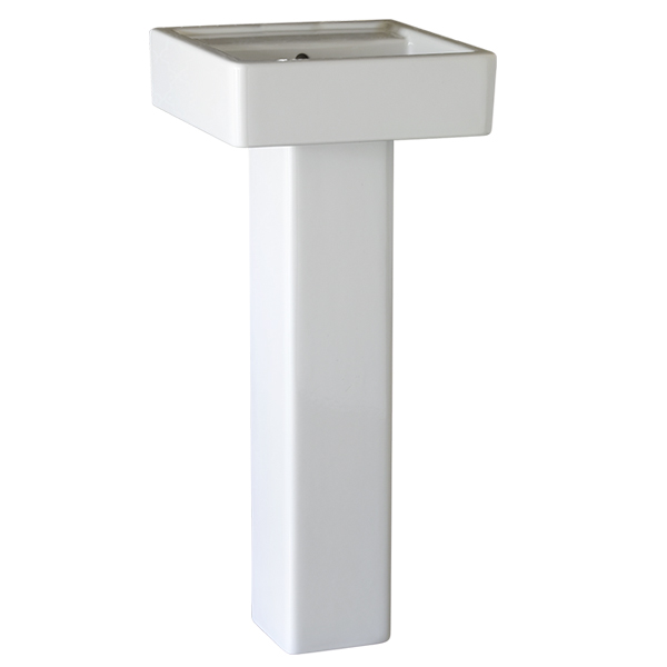 DXV Seagram 16 Inch Square Pedestal Bathroom Sink- Canvas White